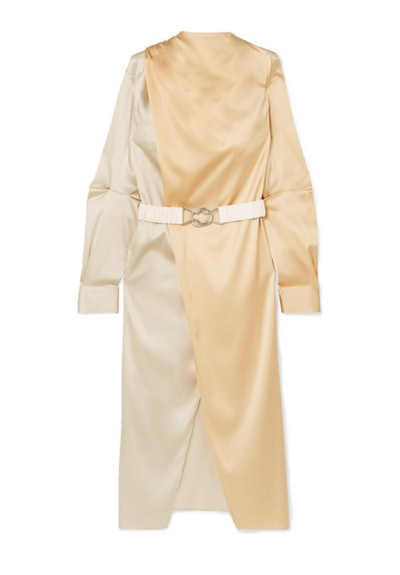 Belted Two-Tone Charmeuse Wrap Dress