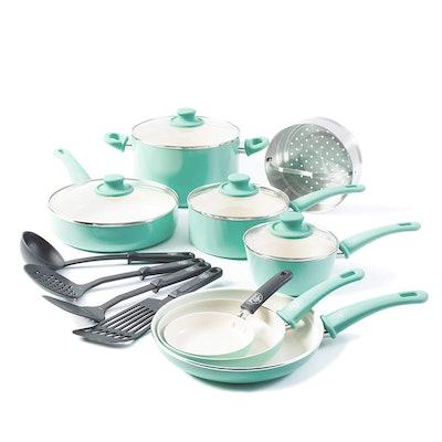 GreenLife Soft Grip 16-Piece Ceramic Nonstick Cookware Set