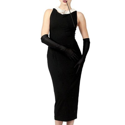 Holly Iconic Black Dress In Cotton Inspired By Breakfast At Tiffany's