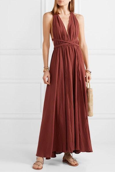 Hera Leather-Trimmed Cotton-Gauze Halterneck Maxi Dress