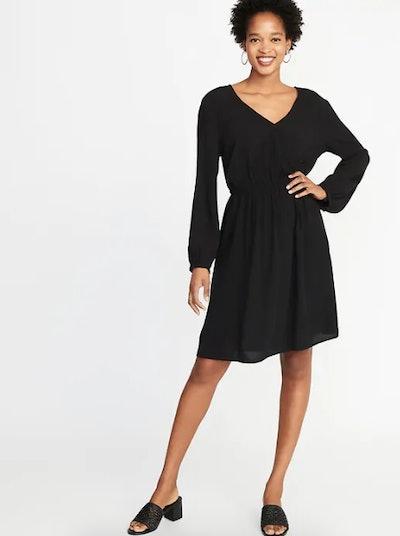 Waist-Defined Faux-Wrap Crepe Dress