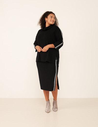 Elena Miro Side Stripe Fine Knit Midi Skirt