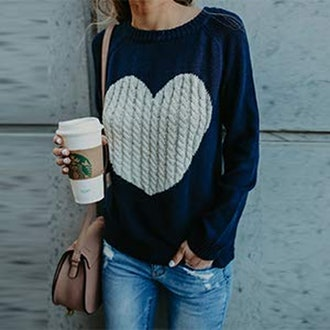 shermie Heart Pullover Sweater