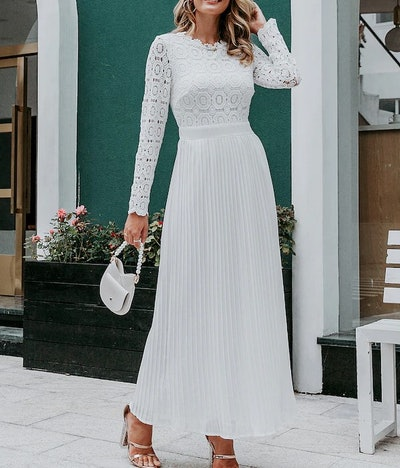Simplee Solid Pleated Hem Guipure Lace Maxi Dress