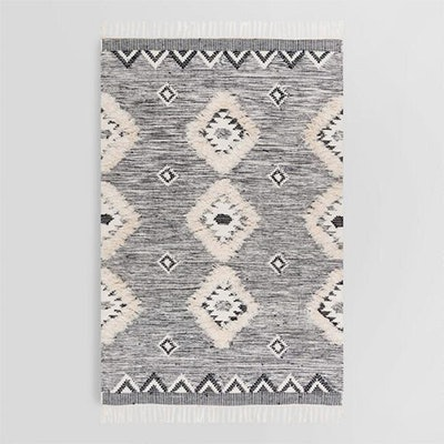 Charcoal Gray Moroccan Fringe Sahara Area Rug