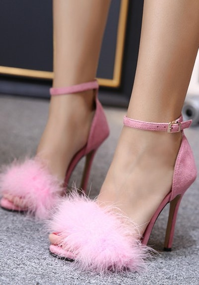 Pink Faux Fur Fluffy Stiletto Sandal