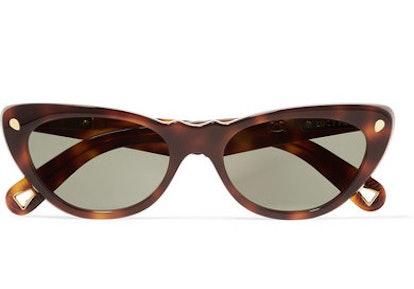 Slice Of Heaven Cat-Eye Tortoiseshell Acetate And Gold-Tone Sunglasses