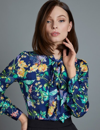 Women's Navy Floral Fitted Satin Shirt