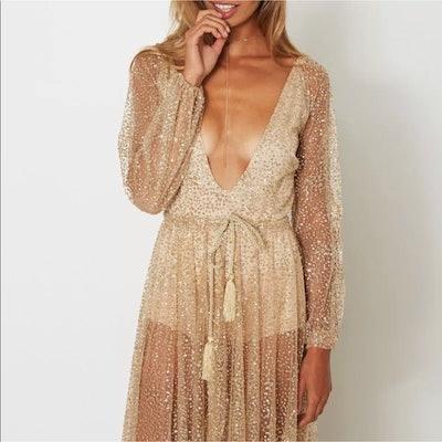 Gold Sheer Metallic Festival Dress