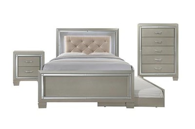 Glamour Youth Twin Platform With Trundle 3-Piece Bedroom Set