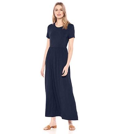 Amazon Essentials Women's Short-Sleeve Waisted Maxi Dress