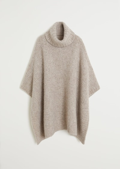 Knit Wool-Blend Poncho