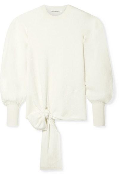 Tatiana Tie-Front Merino Wool Sweater