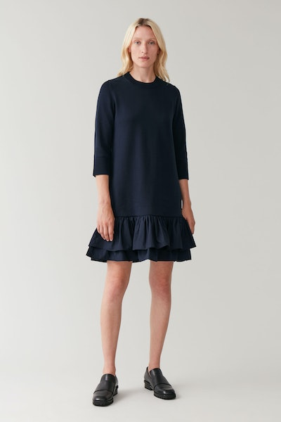 Knitted Dress With Woven Pleats
