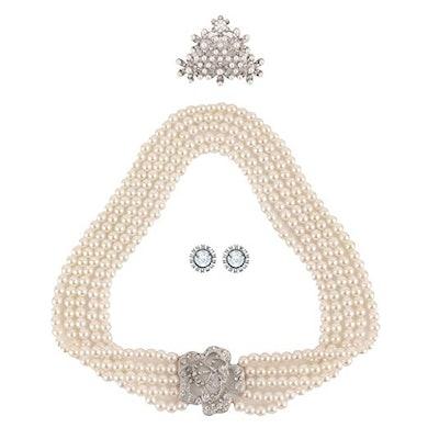Utopiat Audrey Hepburn Breakfast at Tiffany's Bridal Pearl Jewelry Set