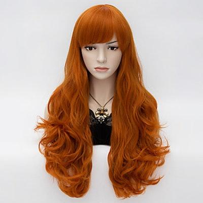 Long Wavy Orange Halloween Wig