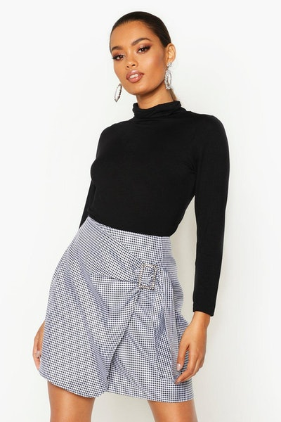 Dogtooth Wrap Front Buckle Detail Skirt