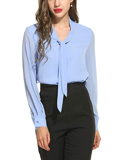 ACEVOG Women's Bow Tie Neck Chiffon Blouse