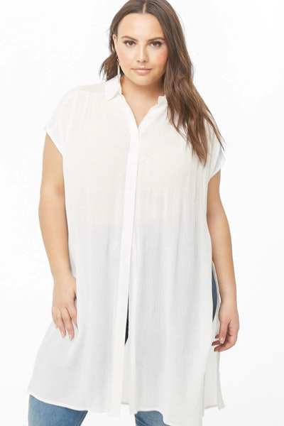 Plus Size Gauze Longline Shirt