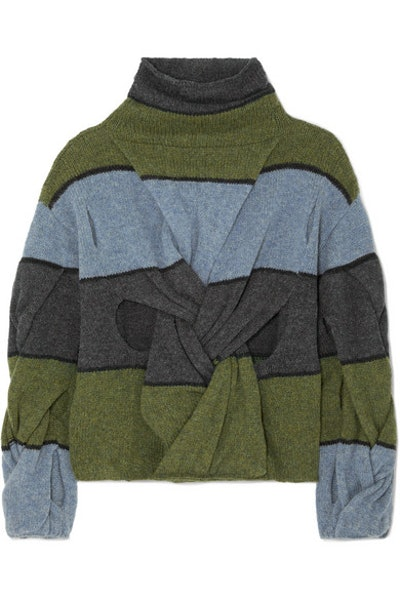 Cutout Twisted Striped Wool Turtleneck Sweater