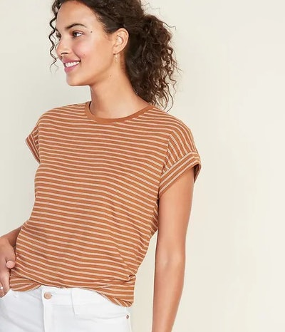 Relaxed Doman-Sleeve Stripe Tee For Women