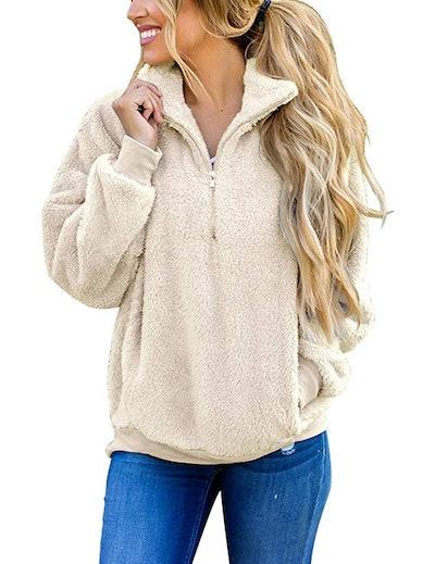 MEROKEETY Sherpa Pullover Zipper Fleece