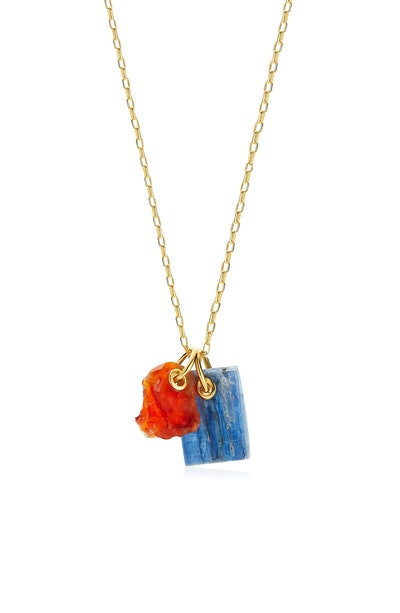 Double Gemstone Pendant Necklace