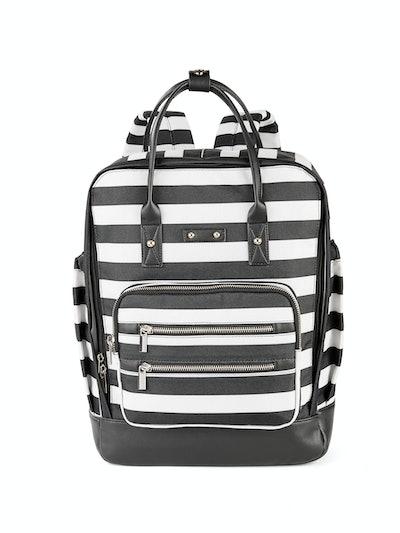 No Boundaries Black/White Stripe Square Backpack