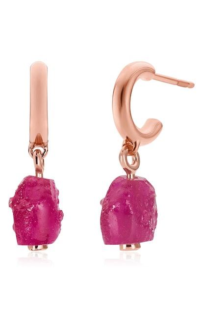 Quartz Huggie Earrings
