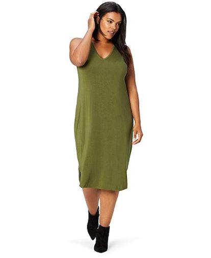 Daily Ritual Women's Plus Size Jersey Sleeveless V-Neck Dress