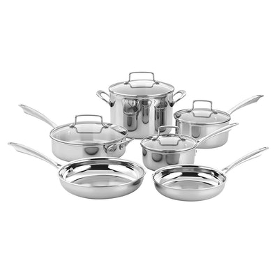 Cuisinart 10-Piece Tri-Ply Stainless Steel Cookware Set