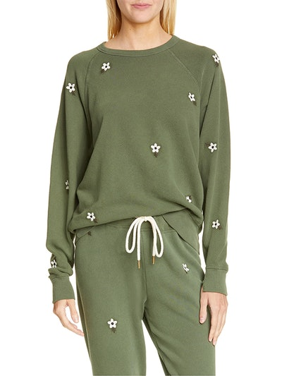 The College Sweatshirt with Floral Embroidery