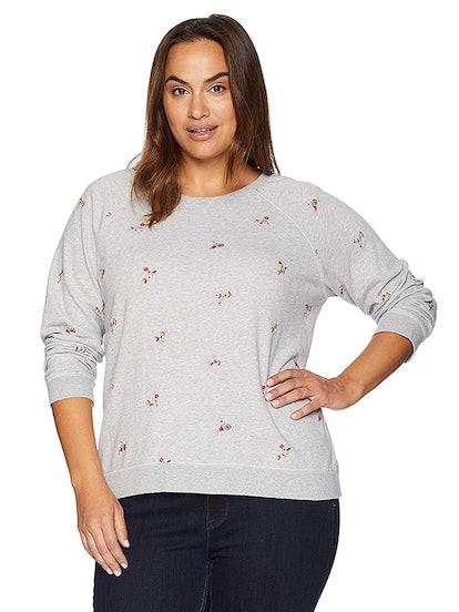 Allover Embroidered Flowers Sweatshirt