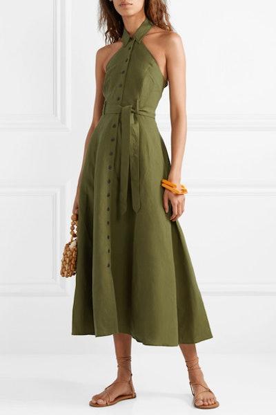 Rosemary Tencel And Linen-Blend Halterneck Maxi Dress