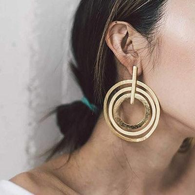 Doubnine Large Circle Hoops Boho Multi Loop Earrings