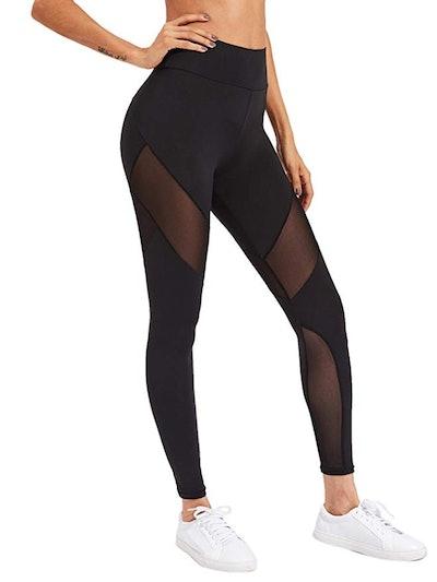 SweatyRocks Women's Stretchy Skinny Sheer Mesh Insert Workout Leggings