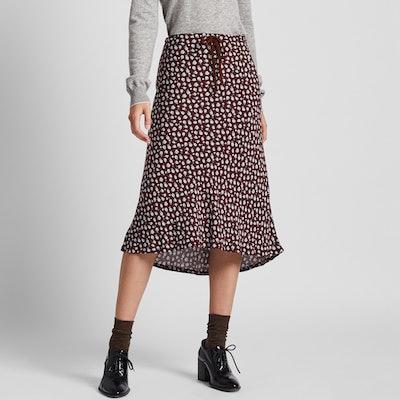 Rayon Flare Midi Skirt
