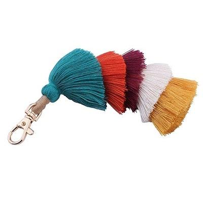 BRUCEWANG Hand Made Colorful Bohemian Pom Pom Tassel Keychain