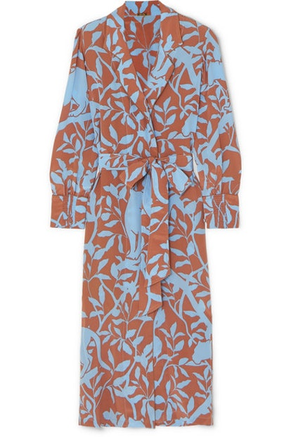 Turn On Your Mind Printed Silk Crepe De Chine Robe