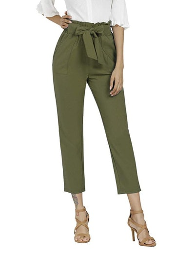 Freeprance Women's Pants Casual Paper Bag Pants