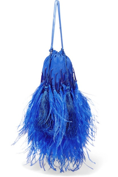Feather-Trimmed Beaded Silk Pouch