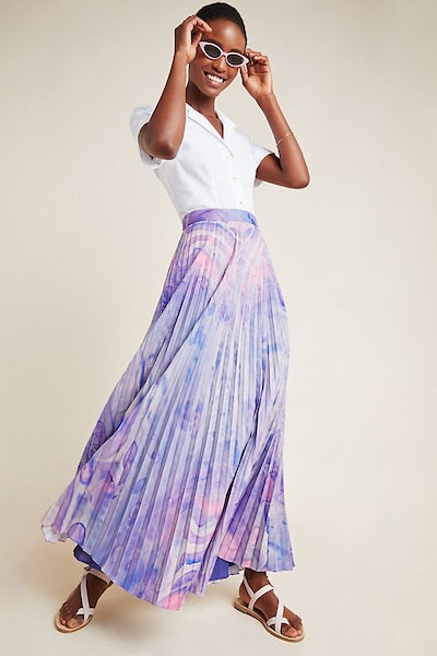 Marble-Dyed Pleated Maxi Skirt