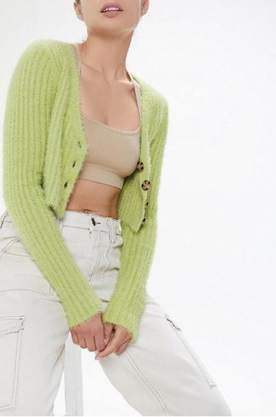 Rochelle Fuzzy Cropped Cardigan