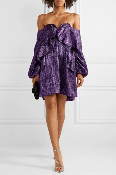 Off-The-Shoulder Ruffled Lurex Mini Dress