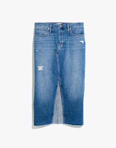 Rigid Denim Cutout Maxi Skirt in Harrogate Wash