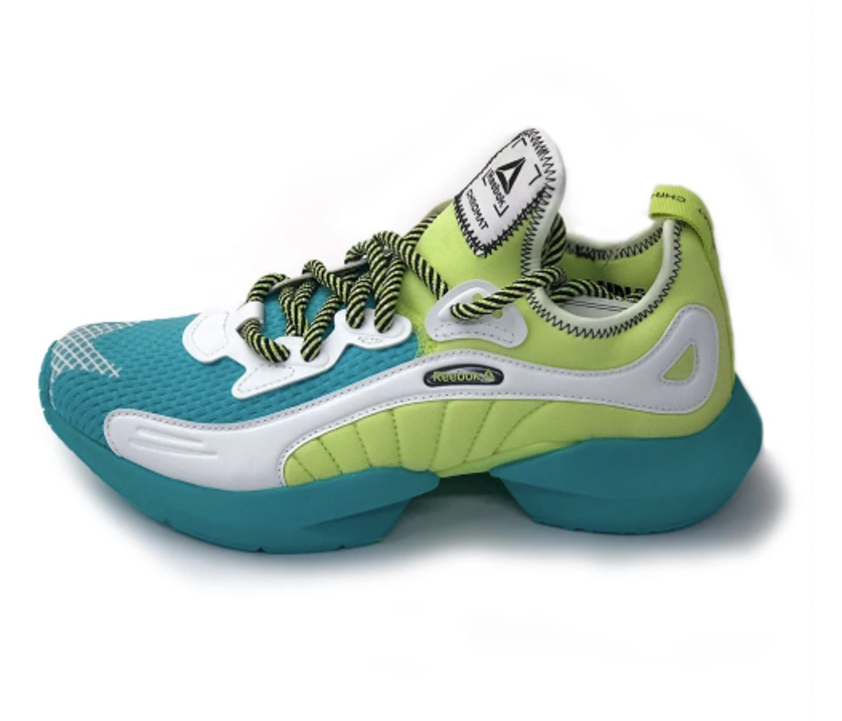 Reebok x Chromat Sole Fury Shoes in Solid Teal/Neon Lime/White