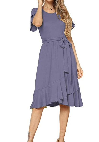 Levaca Women's Plain Casual Flowy Short Sleeve Midi Dress