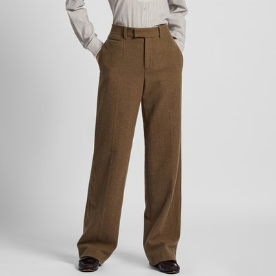 Soft Tweed Wide-Leg Pants