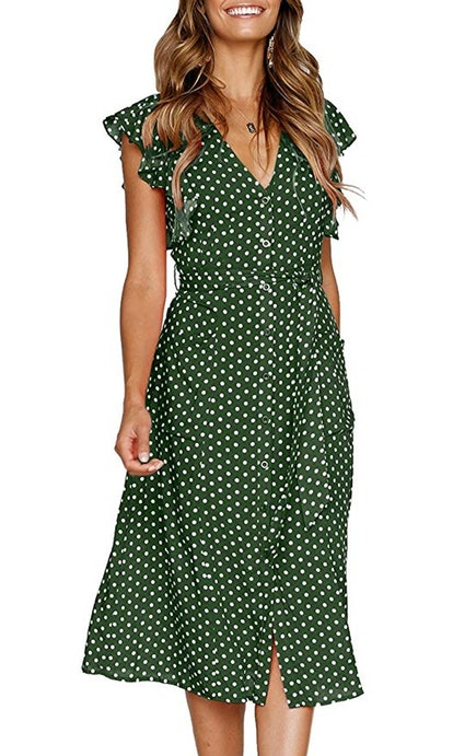MITILLY Women's Summer Boho Polka Dot Sleeveless V Neck Swing Midi Dress