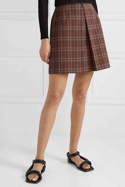 Pleated Checked Woven Mini Skirt